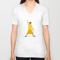 queen V-neck T-shirts featuring QUEEN by Bakus