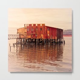 Old Red Net Shed, Building on Pier, Columbia River, Astoria Oregon Metal Print
