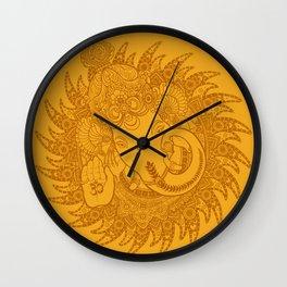 Ganesha Lineart Yellow Wall Clock