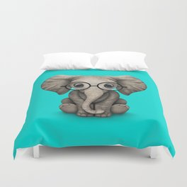 Cute Baby Elephant Calf with Reading Glasses on Blue Duvet Cover