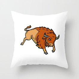 American Buffalo Jumping Mono Line Throw Pillow