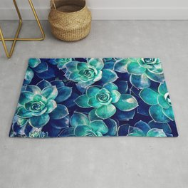 Plants of Blue And Green Rug