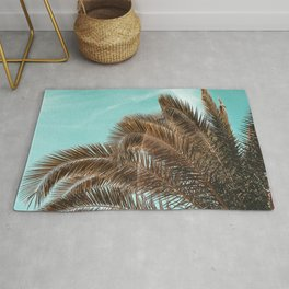 Summer Palm Leaf Print {1 of 3} | Teal Sun Sky Beach Vibes Tropical Plant Nature Art Rug