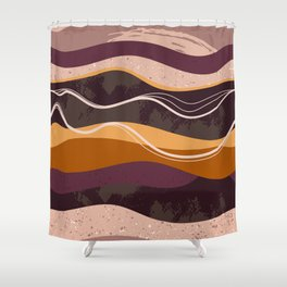 Abstract waves hand drawn illustration pattern Shower Curtain