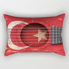 Old Vintage Acoustic Guitar with Turkish Flag Rectangular Pillow