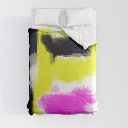 pink yellow and black painting abstract with white background Comforters