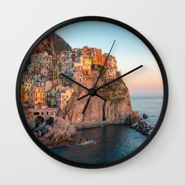 Italy Photography - Beautiful Town By The Shore Of Italy Wall Clock