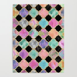 Colorful black watercolor faux gold glitter quatrefoil Poster