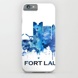 Fort Lauderdale Florida Skyline Blue iPhone Case