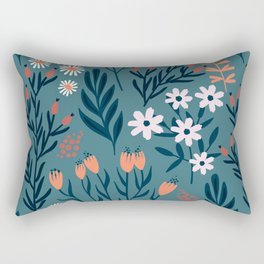 Beautiful Springtime Garden Daisy And Tulip Pattern Rectangular Pillow