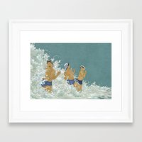 kozyndan Framed Art Prints featuring Three Ama Enveloped In A Crashing Wave by kozyndan