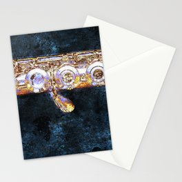 A Miyazawa open-holed flute body is captured in an abstract colorful image Stationery Cards