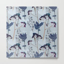 Spring floral pattern in blue Metal Print