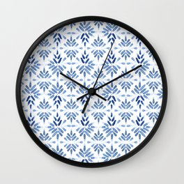 Blue and White Tile Wall Clock