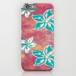 Teal Watercolor Hibiscus Jungle Print iPhone Case