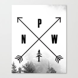 PNW Pacific Northwest Compass - Black and White Forest Canvas Print