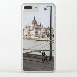 Bicycle in front of the Hungarian Parliament Clear iPhone Case