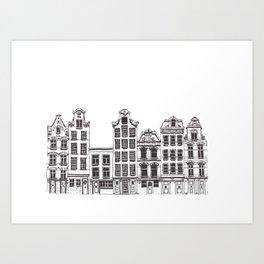 Amsterdam facades illustration Art Print