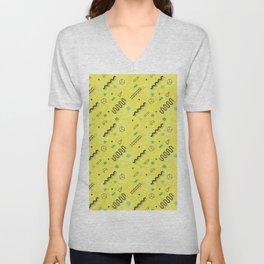 Modern lime green black geometric 80s pattern Unisex V-Neck