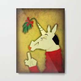 Mistletoe Unicorn Metal Print