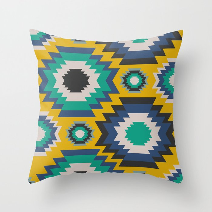 Ethnic In Blue Green And Yellow Throw Pillow