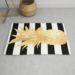 Gold Pineapple Black and White Stripes Rug