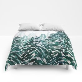 snowy pine forest in green Comforters