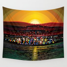 Angel Island Sunset (Square) Wall Tapestry