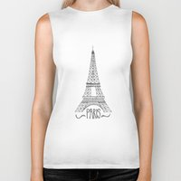 eiffel tower Biker Tanks featuring Eiffel Tower by Stacey Walker Oldham