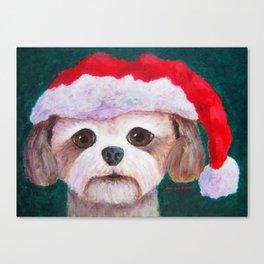 Christmas Shih Tzu By Annie Zeno Canvas Print