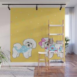 Bichon Frise Holidays yellow cute dogs, Christmas gift, holiday gift, birthday gift, dog, Bijon Wall Mural