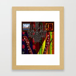 Red Boots in air by chandelier Framed Art Print