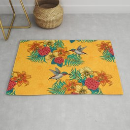 Hummingbirds and tropical bouquet in yellow Rug