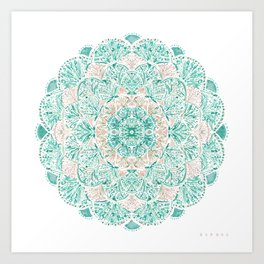 SO SHELLULAR Mint + Rose Gold Shell Mandala Art Print