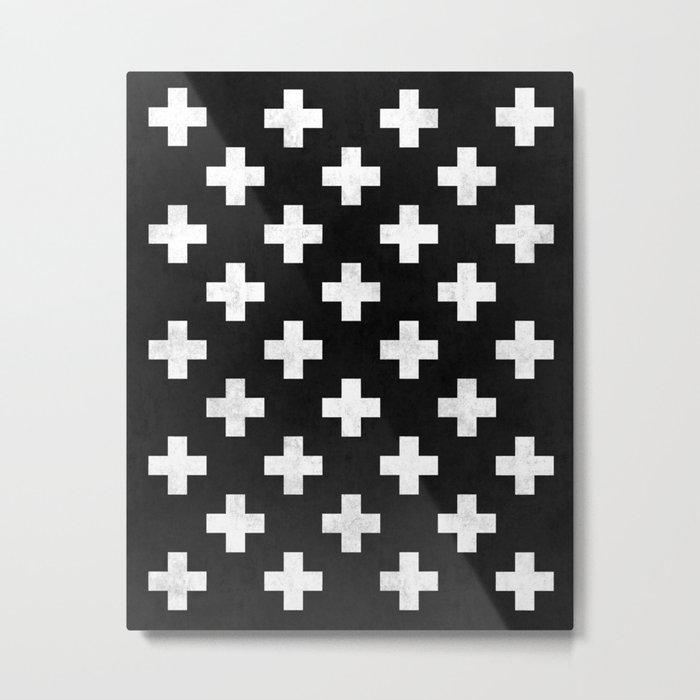 Black and white swiss cross pattern Metal Print
