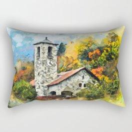Castle with Foliage Surroundings Rectangular Pillow