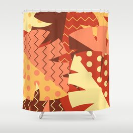 Patterned Autumn Leaves (Modern Retro Bold Colors) Shower Curtain