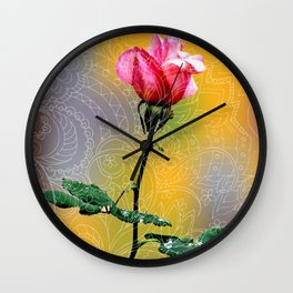pink rose and zen Wall Clock
