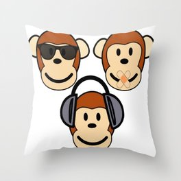 Illustration of Cartoon Three Monkeys - See, Hear, Speak No Evil Throw Pillow