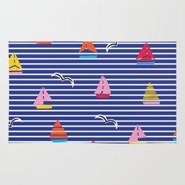 Sailboats on Stripes Rug