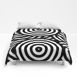 Retro Black White Circles Op Art Comforters