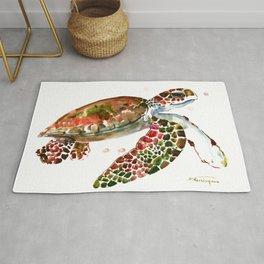 Sea Turtle, Brown, Olive green Pink Shades Rug