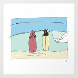 Boards on the beach Art Print