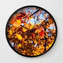 Fall Leaves Photography Print Wall Clock