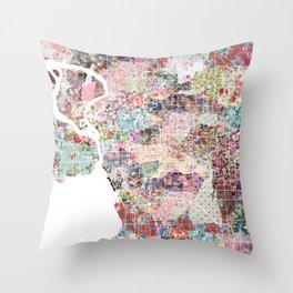 Buffalo map New York Throw Pillow