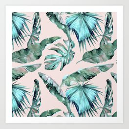 Tropical Palm Leaves Turquoise Green Coral Pink Art Print