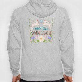 Make Your Own Luck Vintage Floral Sign With Rabbits Hoody