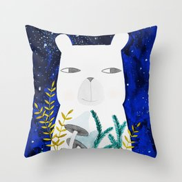 polar bear with botanical illustration in blue Throw Pillow
