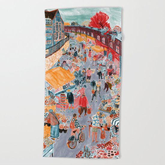 Columbia Road Flower Market Beach Towel