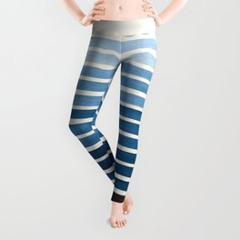 Green Blue Mid Century Modern Minimalist Scandinavian Colorful Stripes Geometric Pattern Round Circl Leggings